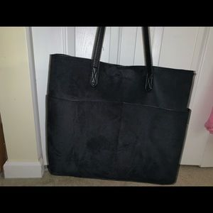 Old Navy Black Suede Tote Bag
